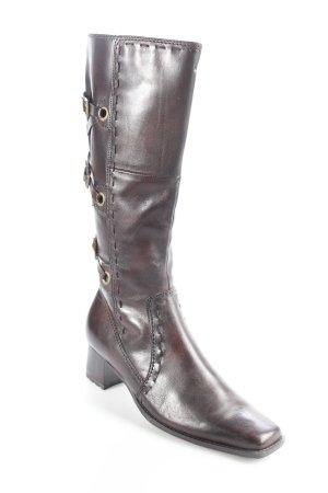 Absatz Stiefel schwarzbraun Leder-Optik