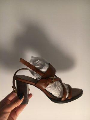 Massimo Dutti Sandalen met bandjes en hoge hakken veelkleurig Leer