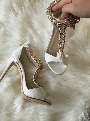 Absatzsandalen Sandaletten High Heeled Sandals Weiß Gold Blogger