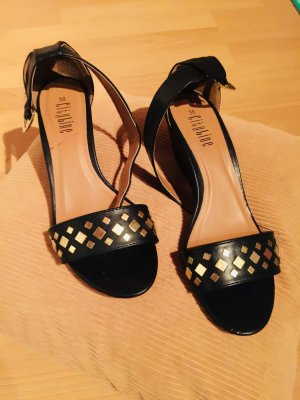 Backless Pumps black-gold-colored