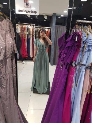 Evening Dress sage green-lime-green