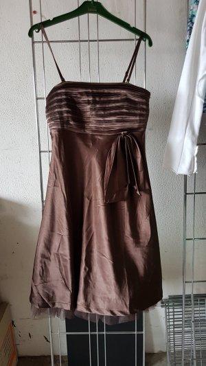 Vestido bustier color bronce-marrón