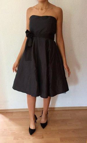 Abschlussball Kleid midilänge trägerlos/ mit Trägern midi schwarz S M 36/38