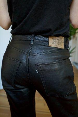 Levi's Pantalón de cuero negro-azul Cuero