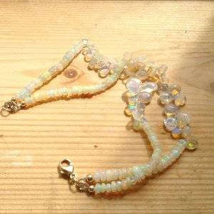 Bracelet pink-turquoise real gold