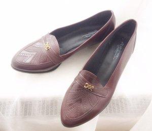Academy Leder Vintage Slipper Schuhe weinrot 38 NEU