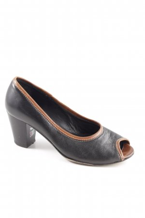 Accatino Peep Toe Pumps black-brown business style