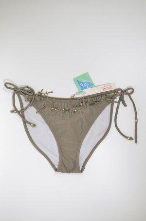 ACCESSORIZE Bikinihose Slip Grün-Grau Metallic Fransen Perlen  Gr.UK10/ EU40 Neu