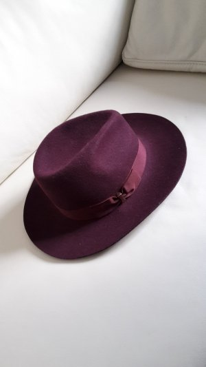 Accessorize Cara Fedora Hut Bordeaux Rot Weinrot Wolle Wollhut Gold Trilby other stories