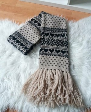 Accessorize Knitted Scarf black-natural white