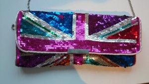 Accessorize Tasche Glitzer Party Clutch Brit Union Jack Flagge Flag Pailletten