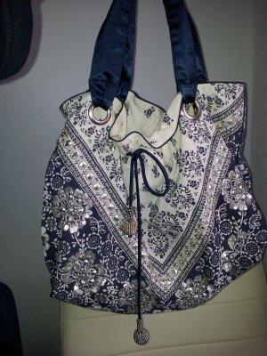 Accessorize Tasche in weiß- blau mit silbernen Ornamenten