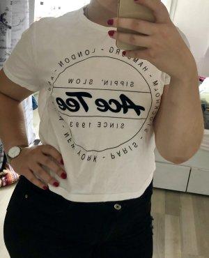 H&M Camisa recortada blanco-negro