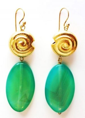 Earring gold-colored-green real silver