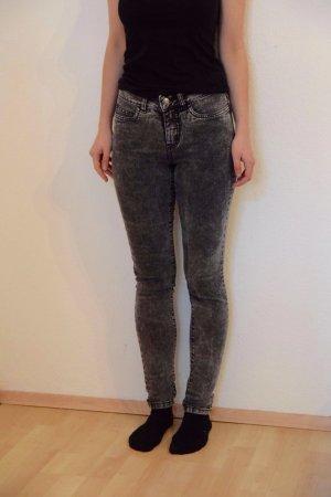 Acid-washed Jeans in grau (mid waist)