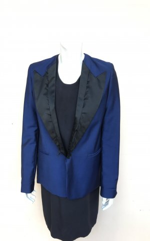 Acne Blazer Gr.36/38 Blau schwarz Mod. Cast Shark Lt Jacket Satin Wolle Smoking