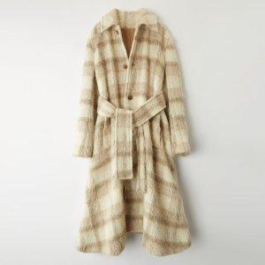 Acne Manteau en laine gris brun-blanc cassé mohair