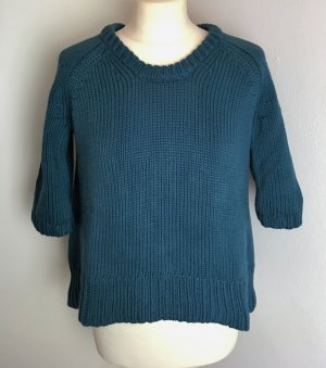 * ACNE *  cropped PULLOVER Baumwolle petrol KURZARM weit Gr XS 34 36