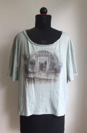 Acne cropped Shirt imUsed Look mit orientalem Printmotiv, Größe S (onesize)