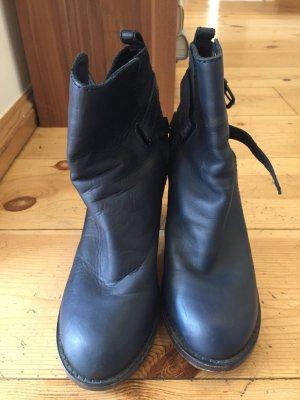 Acne Bottillons bleu foncé cuir