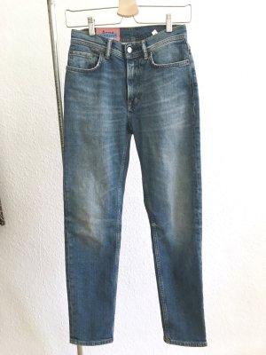 Acne High Waist Jeans blue-light blue cotton