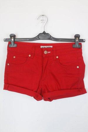 Acne Pantaloncino di jeans rosso neon Cotone