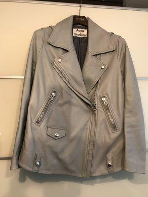 Acne Leather Jacket light grey-pale blue