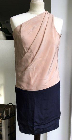 Acne Vestido de un hombro azul oscuro-rosa Seda
