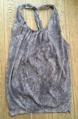 * ACNE  * OVERSIZE KLEID TUNIC DRESS  PHYTON PRINT hell grau taupe RÜCKENFREI Gr 40 L  42 XL