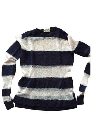 Acne Pull tricoté blanc-bleu