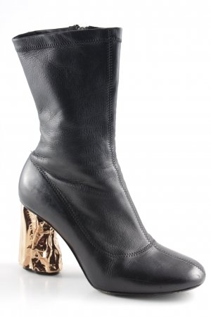 Acne Zipper Booties black metallic look