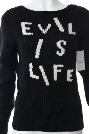 Acne Rundhalspullover schwarz-weiß Schriftzug gestickt