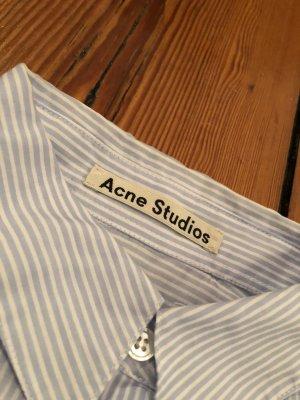Acne Studios Baumwollhemd Cropped Top gestreiften Streifen Blau-Weiß 36