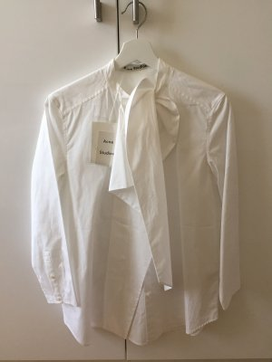 Acne Tie-neck Blouse white cotton