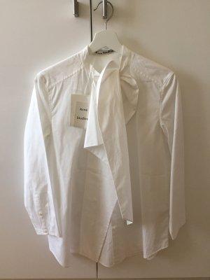 Acne Blusa collo a cravatta bianco Cotone