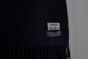 Acne Fringed Scarf black wool