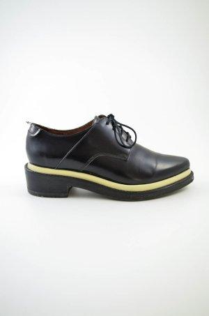 Acne Chaussures à lacets noir-crème cuir