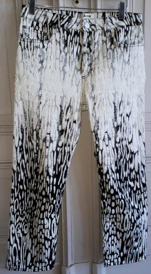 Acne Pantalone nero-crema Cotone
