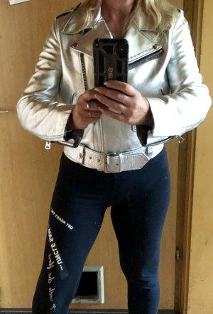 Acne Leather Jacket light grey leather