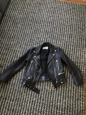 Acne Giacca da motociclista nero Pelle