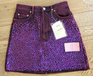 Acne Mini-jupe violet-brun pourpre coton