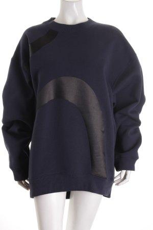 Acne Studios Oversized Pullover dunkelblau-schwarz Materialmix-Look