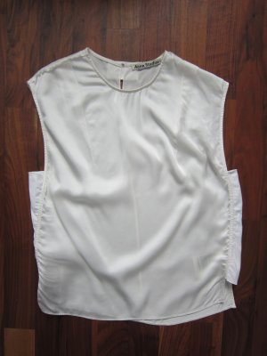Acne Top de seda blanco puro Seda