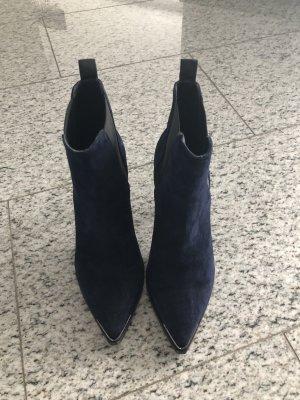 Acne Bottines bleu foncé-noir daim