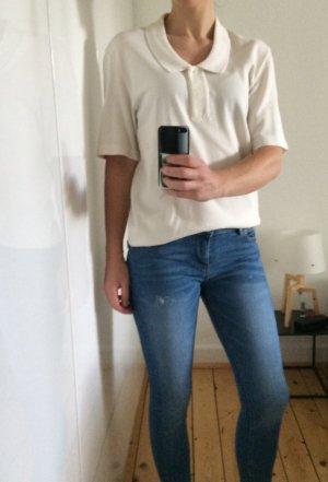 Acne Studios Teresa Poloshirt Polo Top Bluse Kragen nude offwhite Gr S Neu!