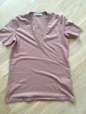 Acne Camisa de manga corta rosa empolvado-camel