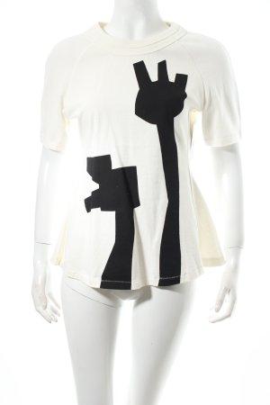 Acne T-shirt blanc cassé-noir imprimé avec thème style urbain