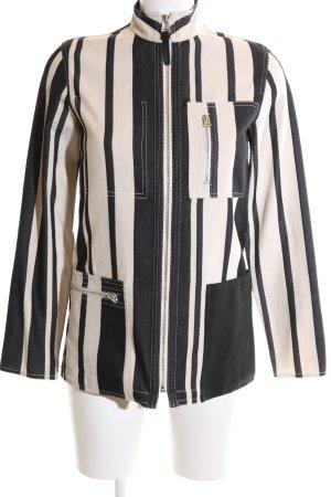 Acne Veste mi-saison blanc cassé-noir motif rayé élégant