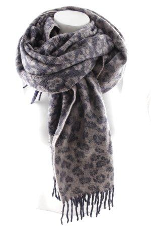 Acne Écharpe en laine gris violet-mauve motif léopard style décontracté