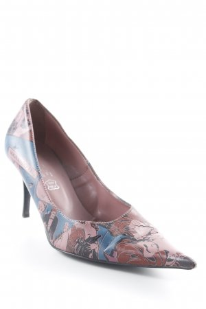 active Peeptoe Pumps rosa-blau abstrakter Druck extravaganter Stil